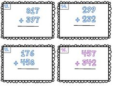 3 Digit Addition Flash Cards