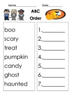 Abc Order Halloween Worksheets