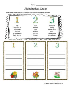 Alphabetical Order Names Worksheets