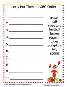Alphabetical Order Picture Worksheets