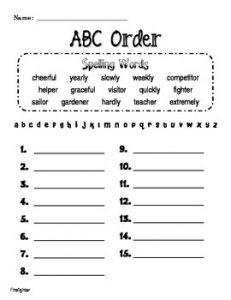 Alphabetical Order Worksheets for 2nd Grade