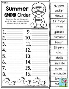 Alphabetical Order Worksheets for Grade 7