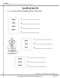 Arrange Words in Alphabetical Order Worksheet