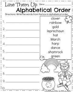 Arranging Words in Alphabetical Order Worksheet for Grade 1