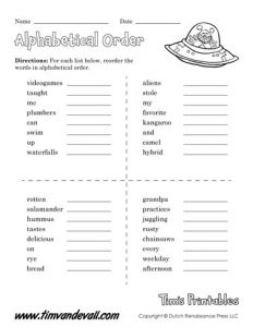 Easy Alphabetical Order Worksheets