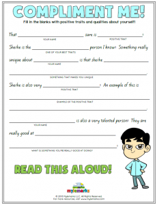 Identity and Self Esteem Worksheets