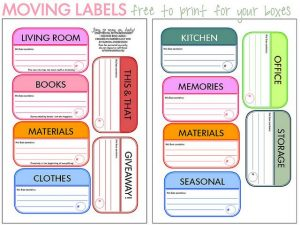Moving Box Labels Template