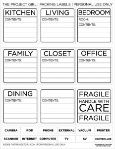 Office Moving Labels