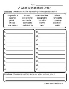 Printable Alphabetical Order Worksheets