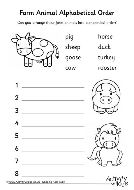 put the words in alphabetical order worksheet