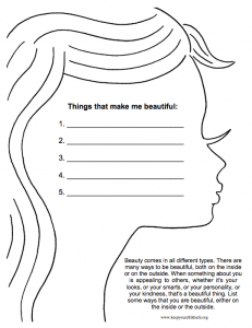 Self Esteem and Substance Abuse Worksheets for Girls