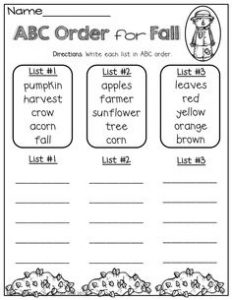 Worksheets for Alphabetical Order