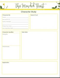 Bible Character Study Worksheet