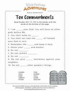Bible Worksheets for 4th Graders