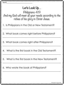 Books of the Bible Worksheet Printable