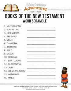 Books of the Bible Worksheets for Kids