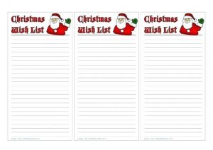 Christmas Wish List Template for Families