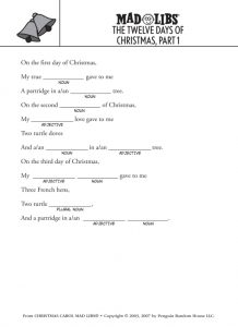 12 Days of Christmas Mad Libs