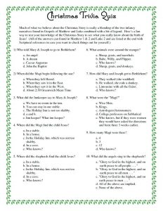 Christmas Bible Trivia Quiz Questions