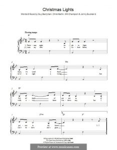 Christmas Lights Coldplay Piano Sheet Music with Lyrics Free Download
