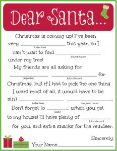 Christmas Mad Libs Elementary