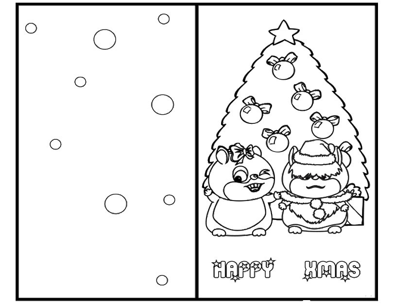 38 Joyful Coloring Christmas Cards | KittyBabyLove.com