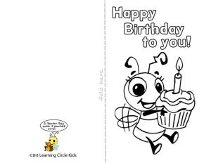 Coloring Page Birthday Card