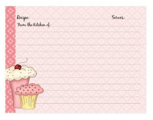 Cute Cupcake Recipe Cards