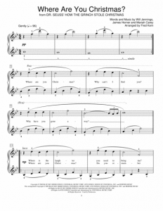 Easy Piano Sheet Music for Where Are You Christmas