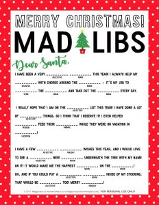 Funny Christmas Mad Libs