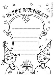 Happy Birthday Card Coloring Template