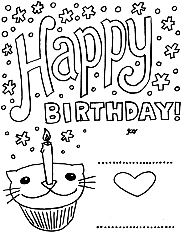 50 Geous Coloring Birthday Cards KittyBabyLove