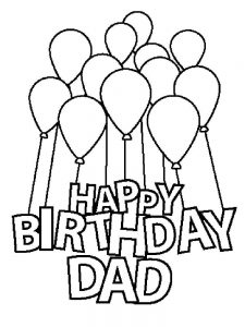 Happy Birthday Dad Coloring Card