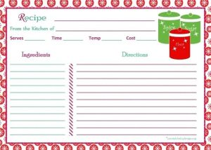 Holiday Recipe Cards Free