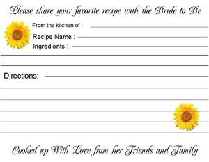 Recipe Cards Bridal Shower