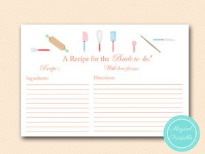 Recipe Cards for Bridal Shower Printable