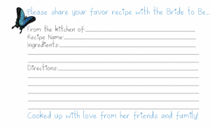 Recipe Cards for Bridal Shower Template