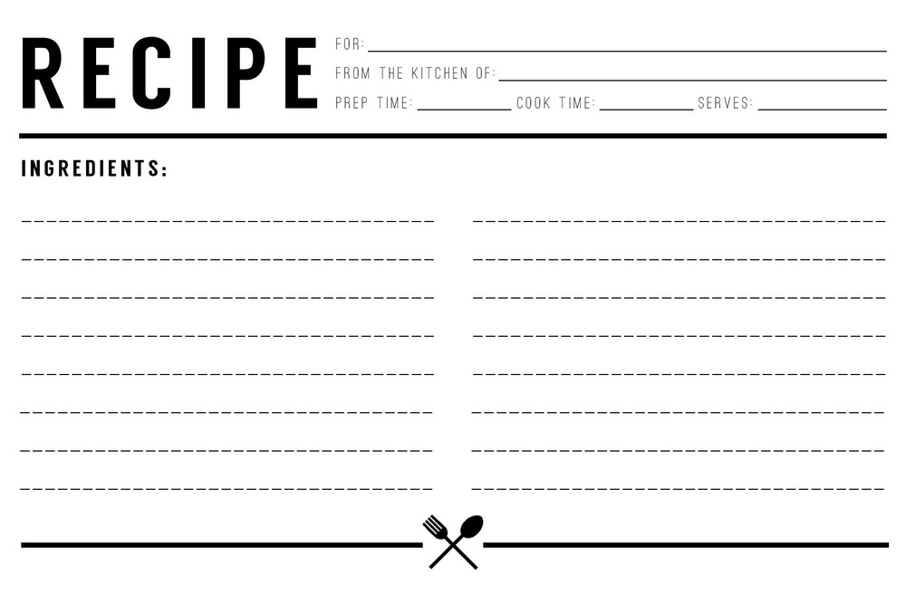microsoft recipe card template