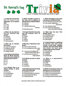 St Patrick's Day Trivia Questions
