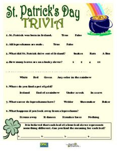 St Patrick Day Trivia Questions and Answers Printable