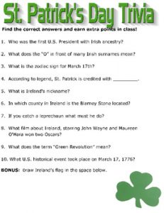 St Patrick's Day Trivia Questions and Answers