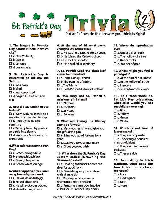 picture relating to St Patrick Day Trivia Questions and Answers Printable named 14 Partaking St. Patricks Working day Trivia