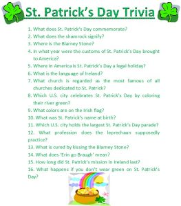 St. Patrick's Day Trivia for Kids