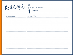 Templates for Recipe Cards