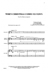 When Christmas Comes To Town Piano Sheet Music Easy