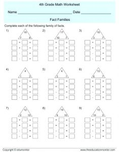 Addition and Subtraction Fact Families Worksheets