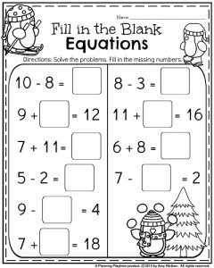 Addition and Subtraction Worksheets for First Grade