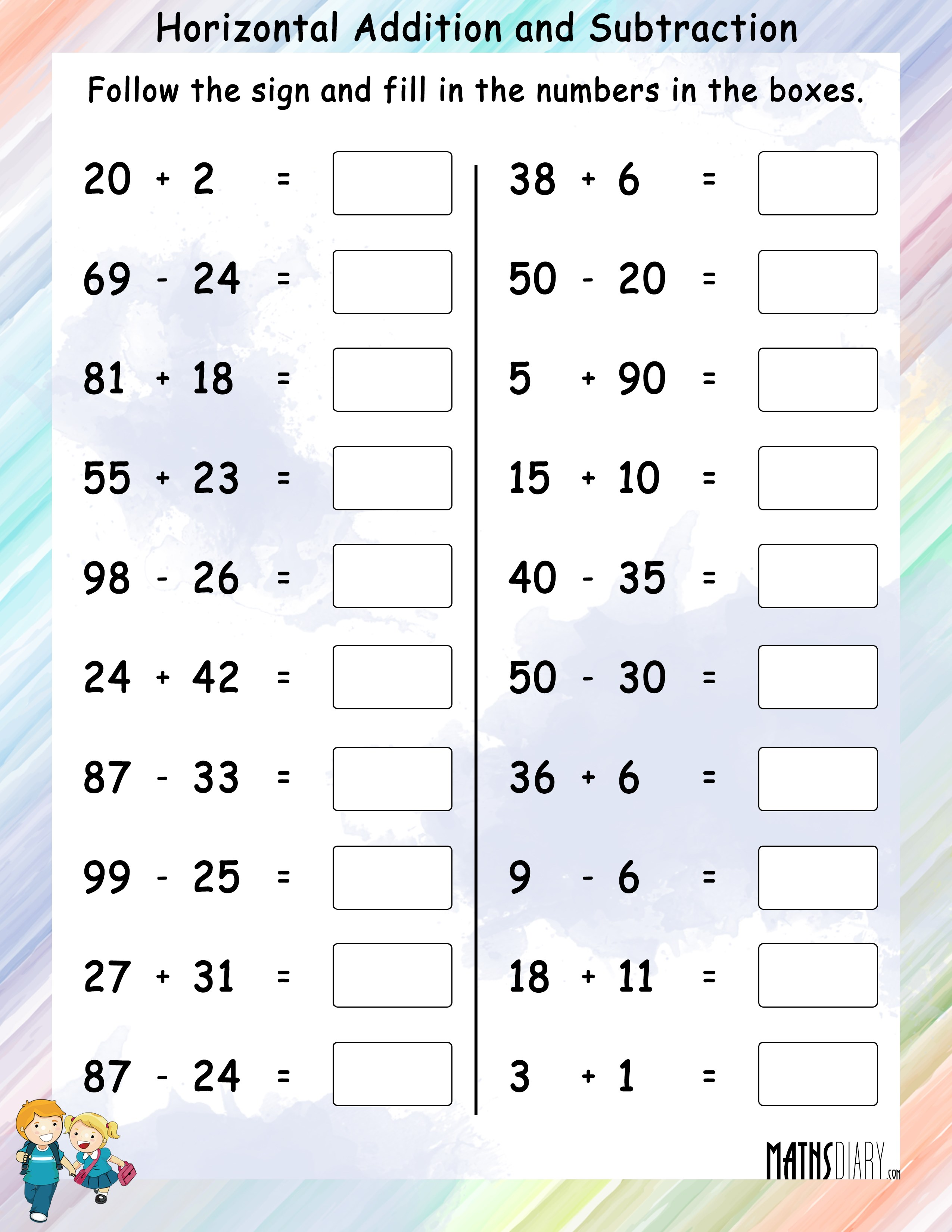 70 Addition and Subtraction Worksheets | KittyBabyLove.com