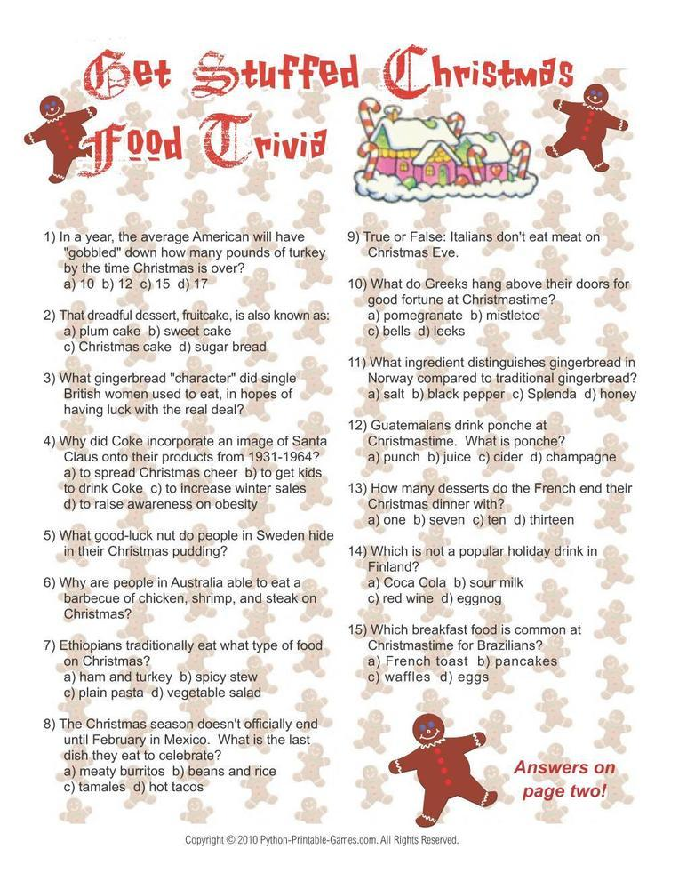 trivia christmas printable games adults answers food questions bible party game drink wine fun printables holiday xmas pampered chef python