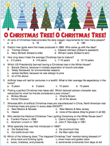 Christmas Tree Trivia Questions